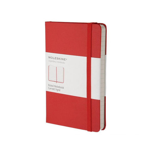 Moleskine 3.5 x 5.5 Hard Cover Pocket Notebook in Red, Lined - Fendrihan Canada - 1