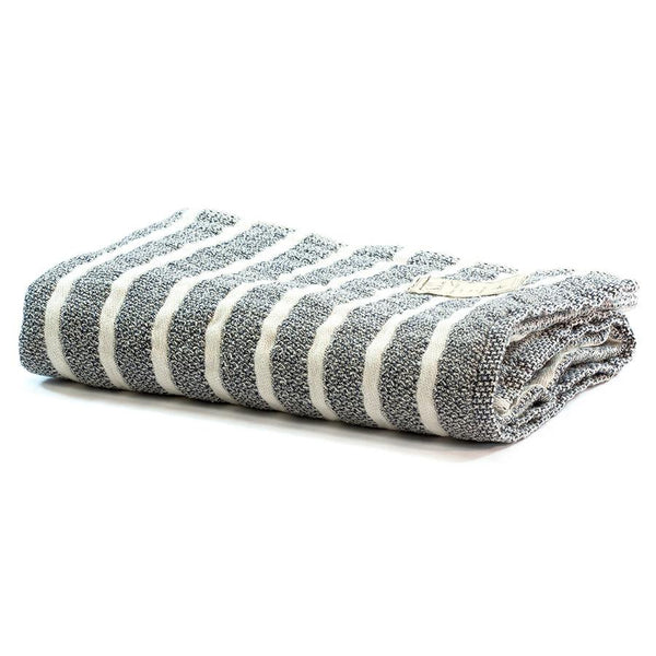 Kontex Sail Bath Towel, Navy and Ivory Stripes - Fendrihan Canada - 1