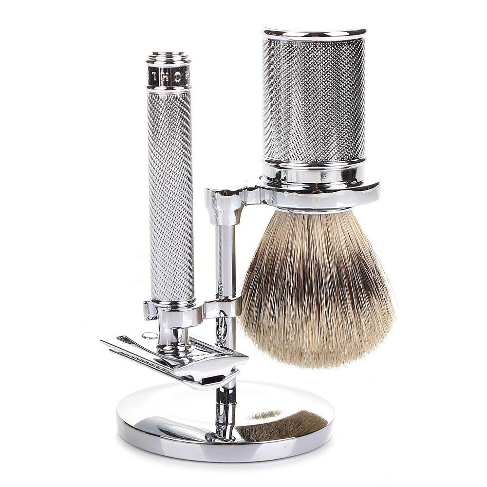 Muhle Traditional 3-Piece Shaving Set with Safety Razor and Silvertip Badger Brush, Polished Chrome Shaving Kit Discontinued