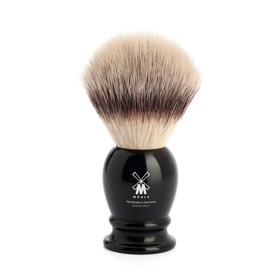 Muhle Silvertip Fibre Large Shaving Brush, Black Handle Synthetic Bristles Shaving Brush Discontinued