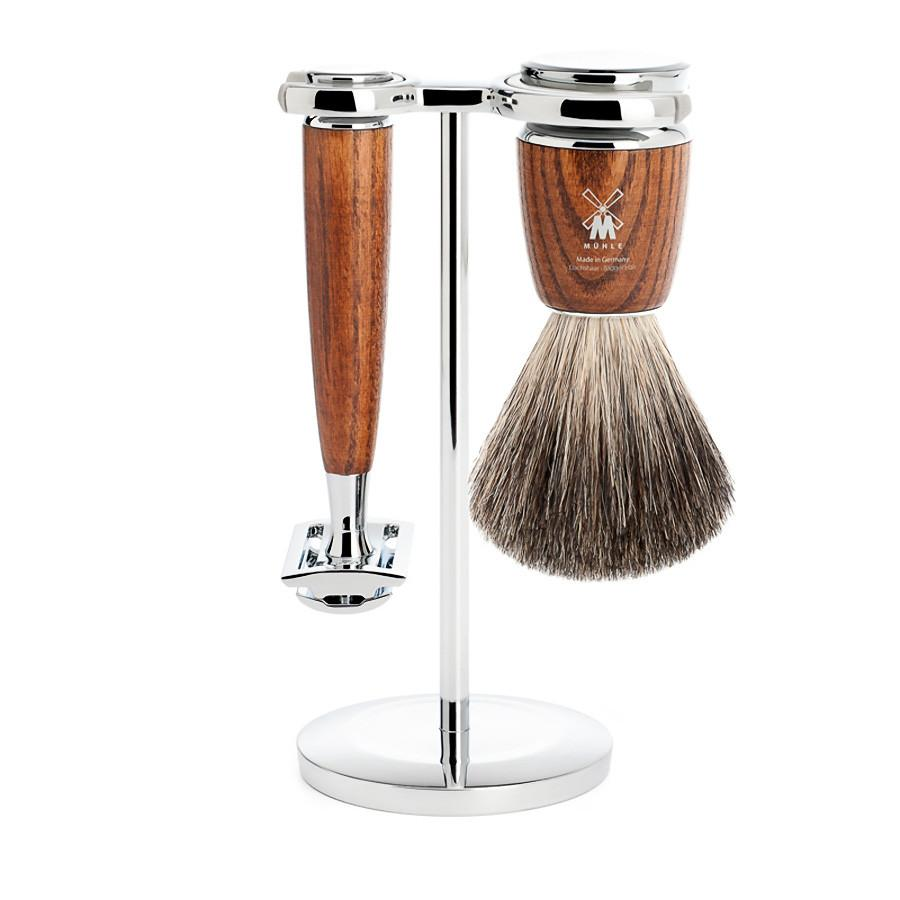 Muhle Rytmo 3-Piece Shaving Set with Safety Razor and Pure Badger Brush, Ash Wood - Fendrihan Canada