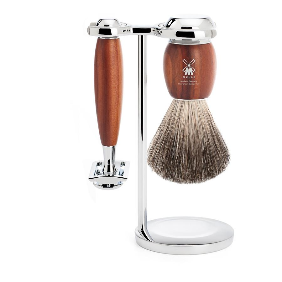 Muhle Vivo 3-Piece Shaving Set with Safety Razor and Pure Badger Brush, Plum Wood Shaving Kit Discontinued
