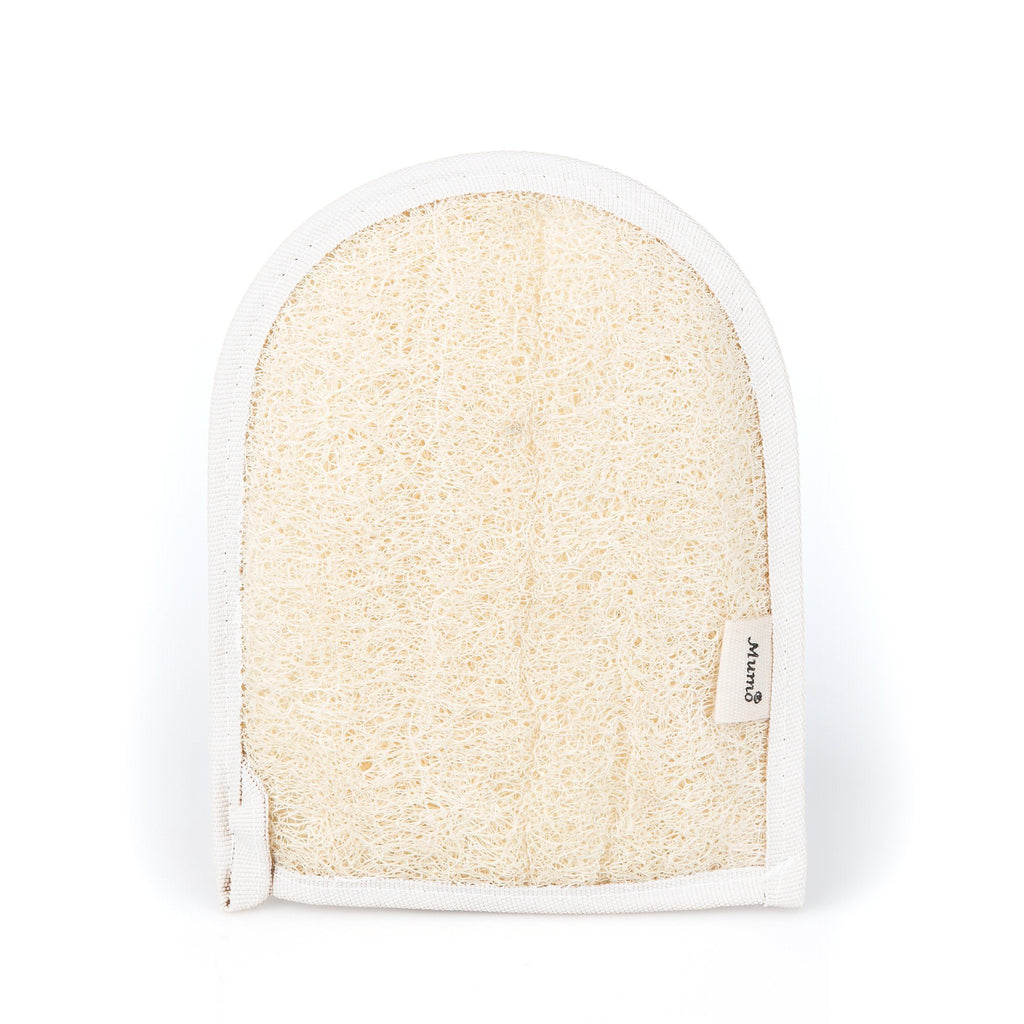 MUMO Double Sided Natural Egyptian Loofah and Cotton Glove Body Exfoliating Mitt MUMO White