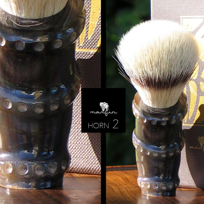 Marfin Handmade Synthetic Silvertip Shaving Brush, Horn Handle Synthetic Bristles Shaving Brush Marfin BAMBHORN 2