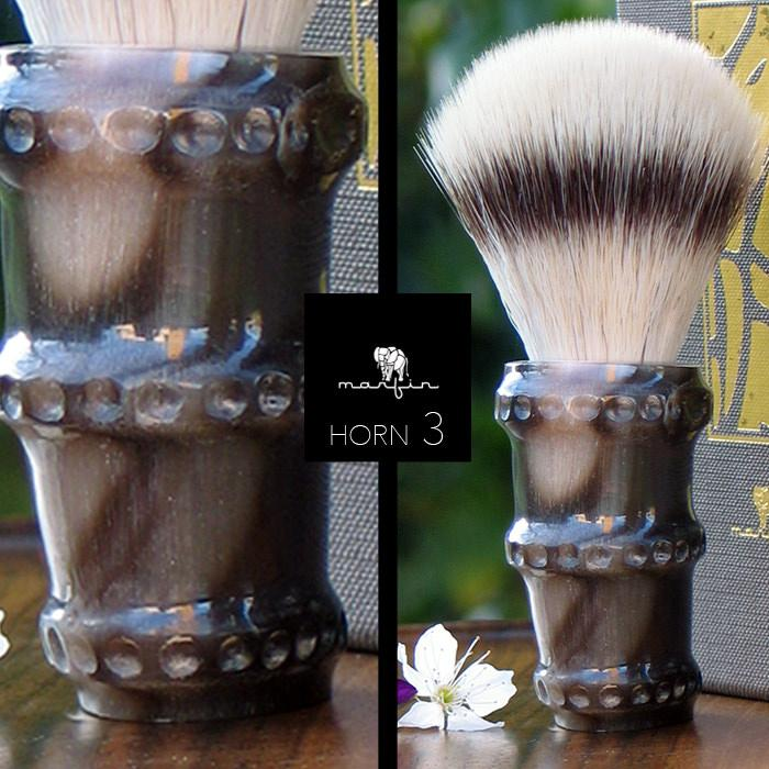 Marfin Handmade Synthetic Silvertip Shaving Brush, Horn Handle Synthetic Bristles Shaving Brush Marfin
