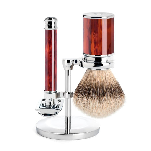 Muhle Traditional 3-Piece Shaving Set with Safety Razor and Silvertip Badger Brush, Faux Tortoise - Fendrihan Canada