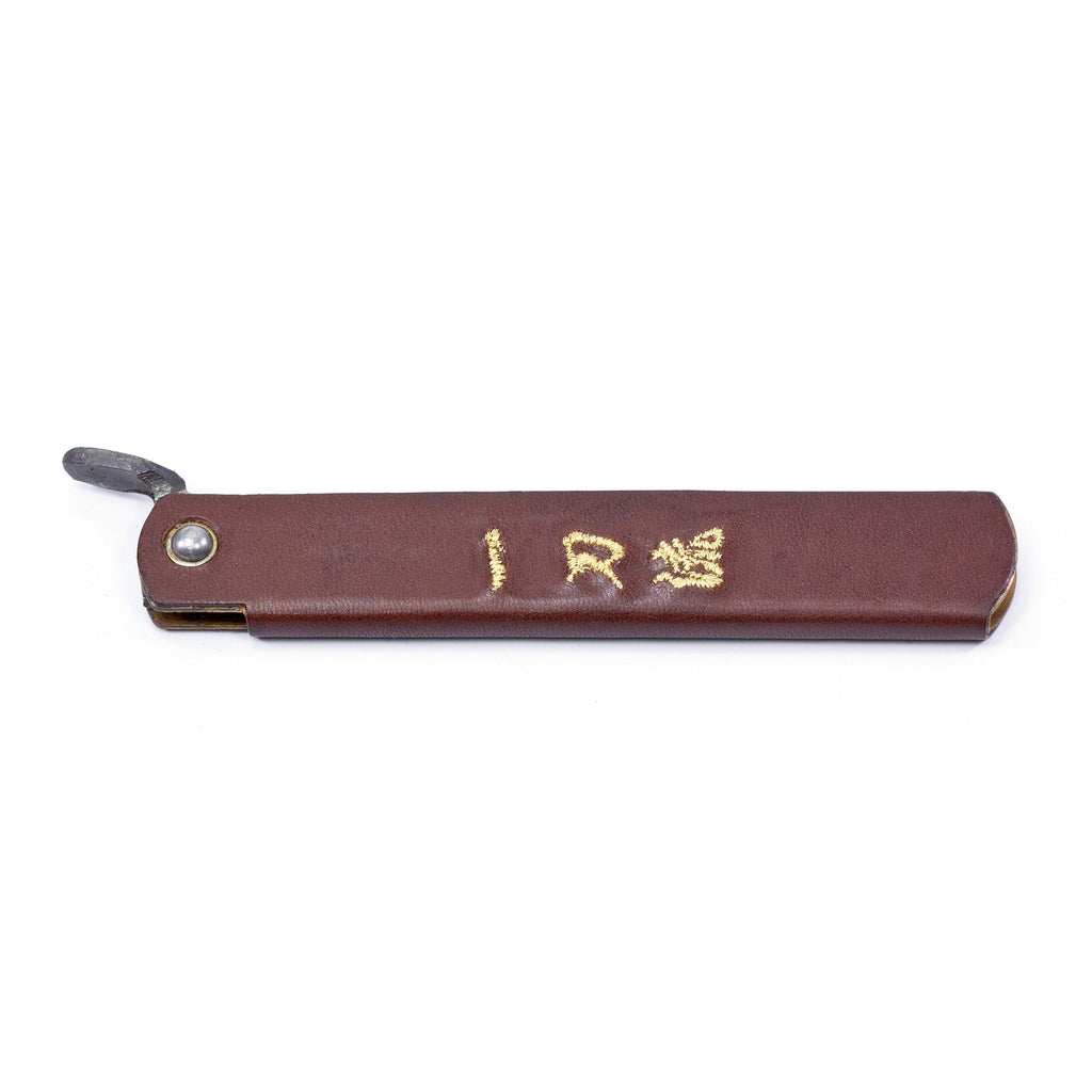 Higonokami Blue Paper Carbon Steel Friction Folder Knife, Leather Handle Pocket Knife Japanese Exclusives Brown
