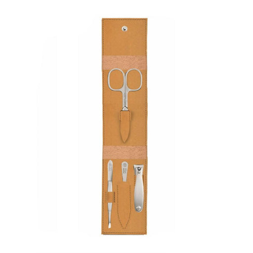 Niegeloh Solingen Havanna S 4-Piece TopInox Manicure Set, Caramel Leather Case