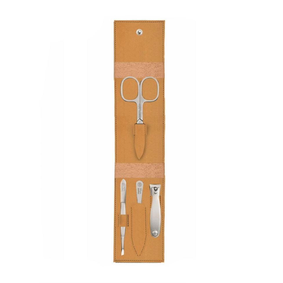 Niegeloh Solingen Havanna S 4-Piece TopInox Manicure Set, Caramel Leather Case Manicure Set Niegeloh Solingen