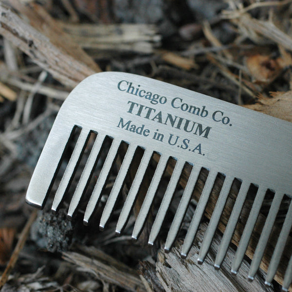 Chicago Comb Co. Model No. 1 Titanium Medium-Fine Tooth Comb - Fendrihan Canada - 2