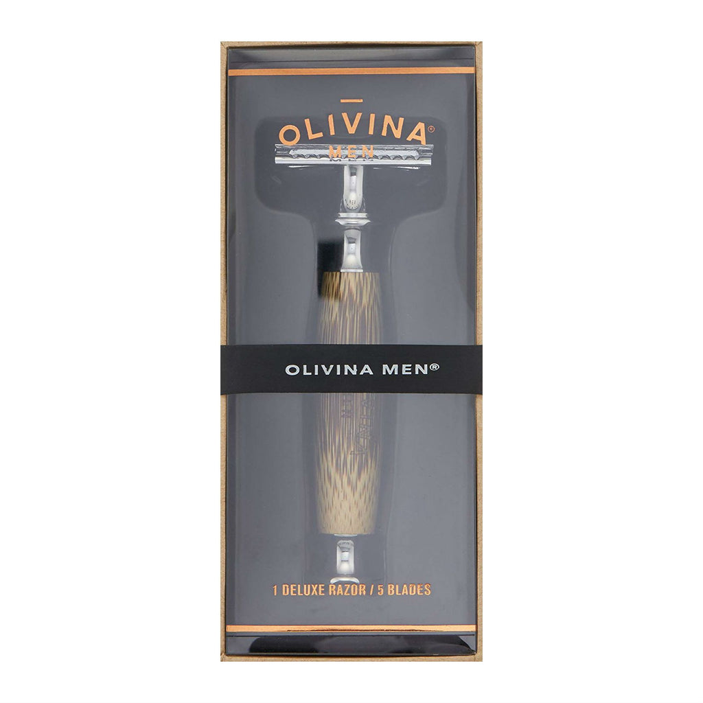 Olivina Men Deluxe Safety Razor, Bamboo Handle Double Edge Safety Razor Olivina Men