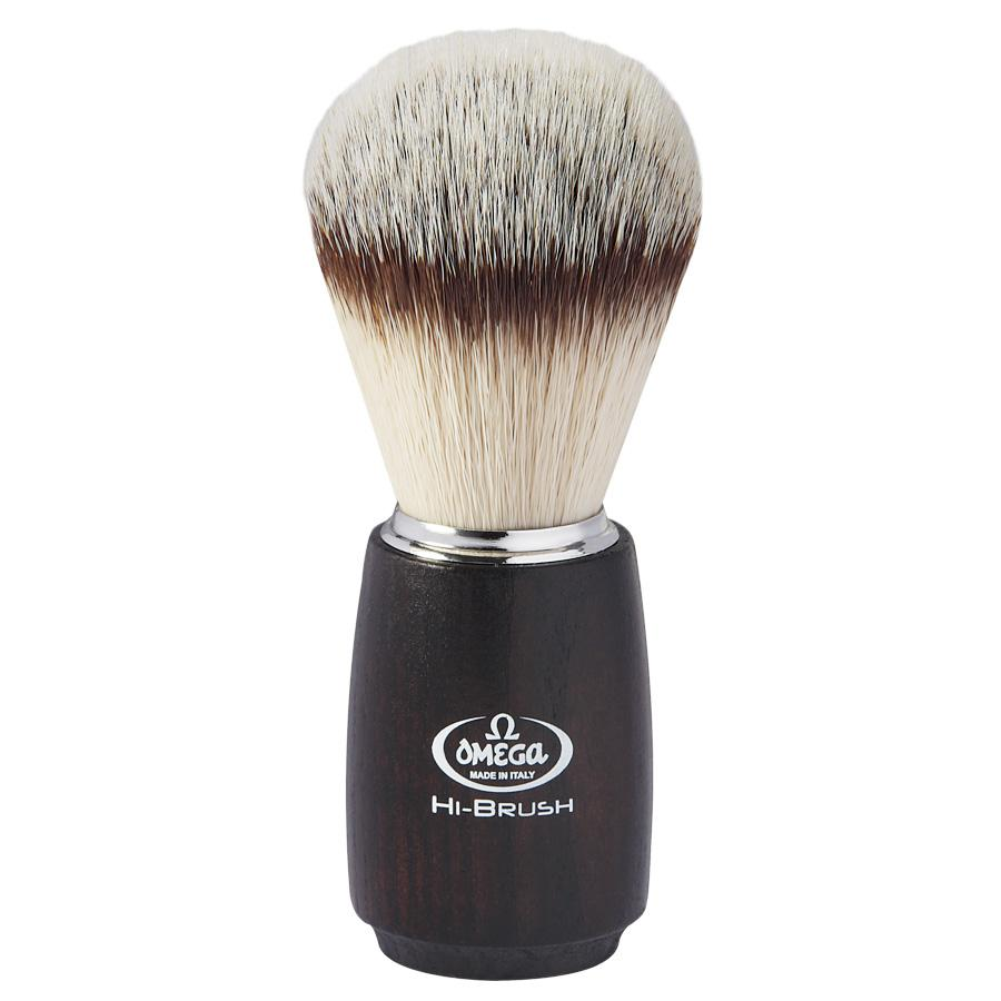 Omega HI-BRUSH 146712 Synthetic Fiber Shaving Brush, Ash Wood Handle Synthetic Bristles Shaving Brush Omega
