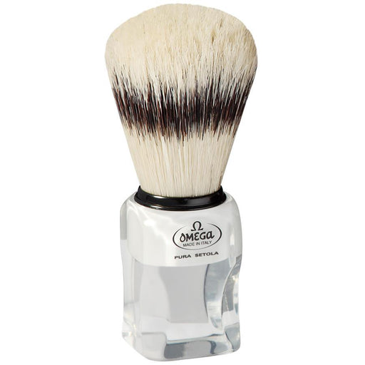Omega 81020 Boar Bristle Shaving Brush, Classy Square Handle with Stand