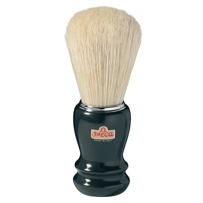 Omega Boar Bristle Shaving Brush, Black Handle with Chrome Rim Boar Bristles Shaving Brush Omega