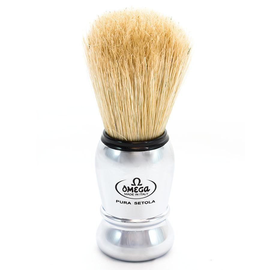 Omega Boar Bristle Shaving Brush, Faux Chrome Handle Boar Bristles Shaving Brush Omega