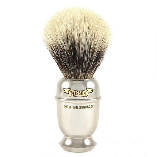 Plisson European White Badger Shaving Brush, Antic Brass Handle, Size 12 - Fendrihan Canada