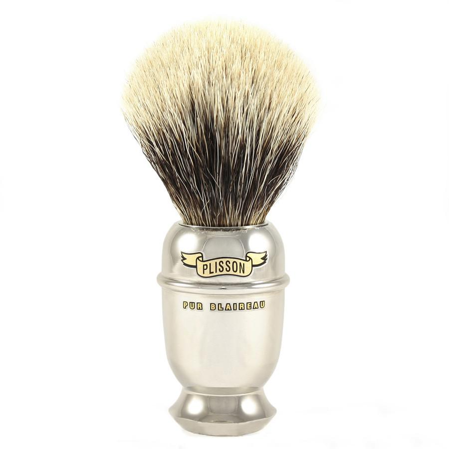 Plisson European White Badger Shaving Brush, Antic Brass Handle, Size 12 Badger Bristles Shaving Brush Plisson - Joris