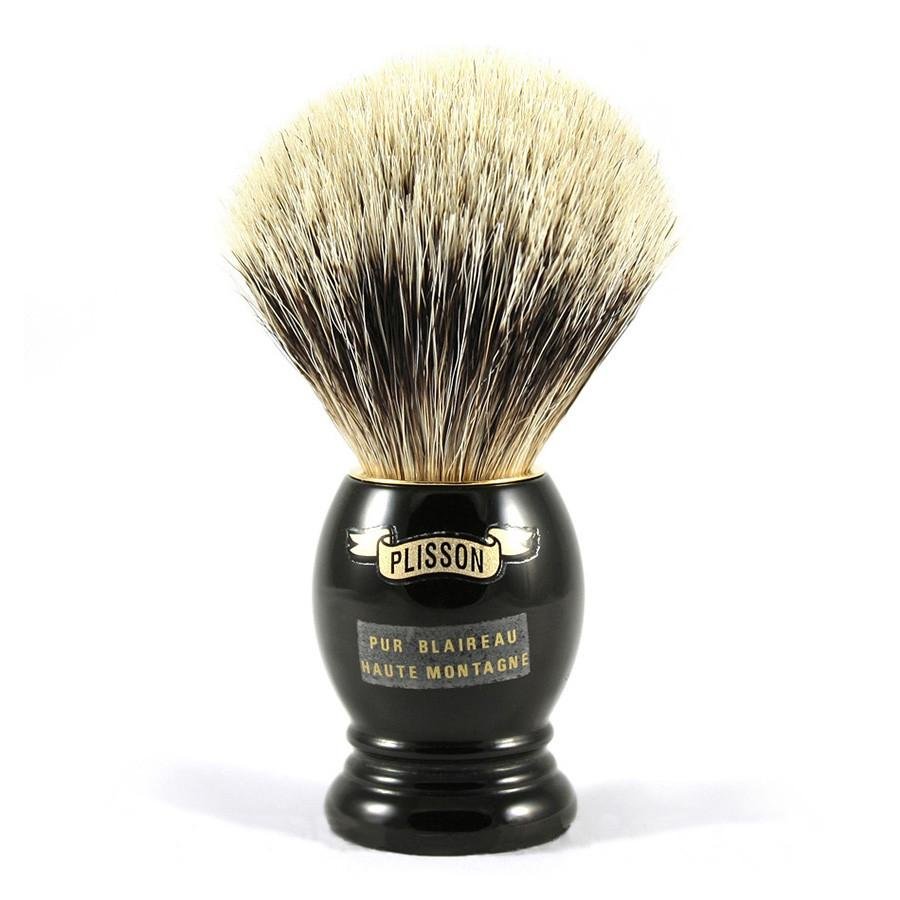 Plisson High Mountain White Badger Shaving Brush, Black Handle, Size 10 Badger Bristles Shaving Brush Plisson - Joris