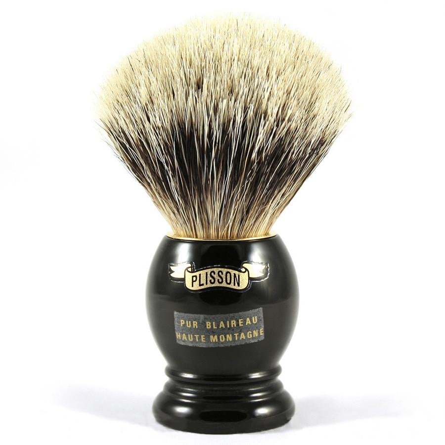 Plisson High Mountain White Badger Shaving Brush, Black Handle, Size 14 Badger Bristles Shaving Brush Plisson - Joris