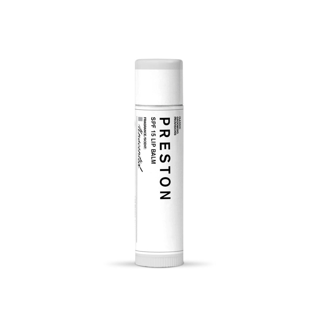 Preston Lip Balm, SPF 15 Lip Balms Preston Unscented
