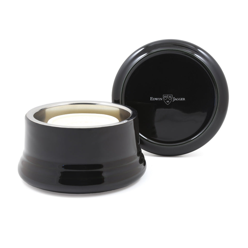 Edwin Jagger Porcelain Shaving Bowl with Lid and Stainless Steel Insert Shaving Mug Edwin Jagger Black