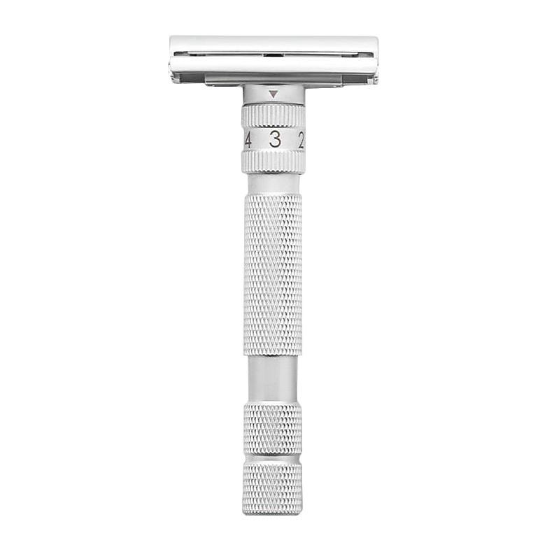 Rockwell Model T Adjustable Butterfly Safety Razor Double Edge Safety Razor Rockwell Brushed Chrome