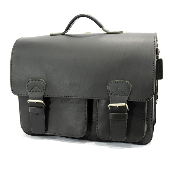 Ruitertassen Classic 2137 Leather Messenger Bag, Black - Fendrihan Canada - 1