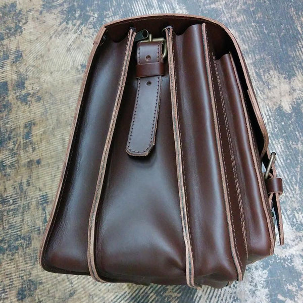 Ruitertassen Classic 2142 Leather Messenger Bag, Dark Brown - Fendrihan Canada - 3