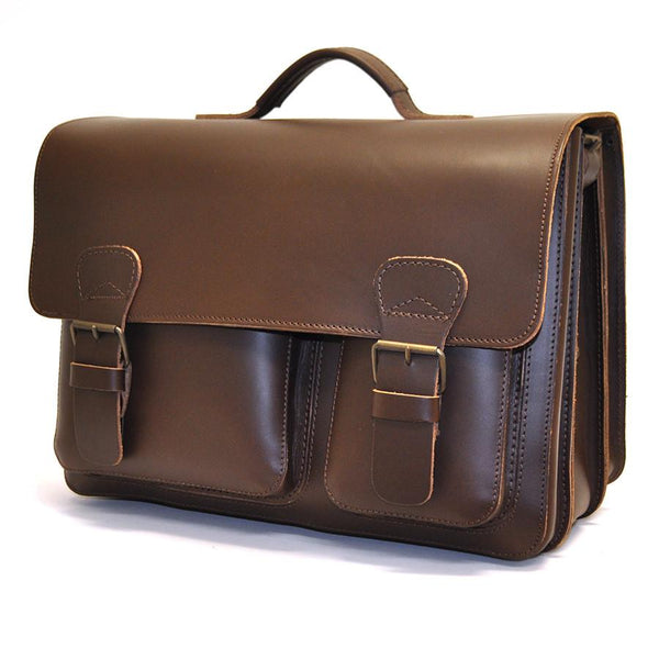 Ruitertassen Classic 2142 Leather Messenger Bag, Dark Brown - Fendrihan Canada - 1