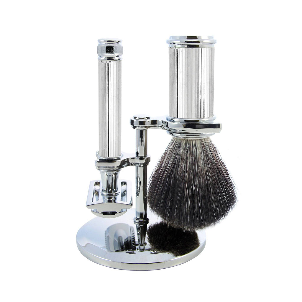 Edwin Jagger 3-Piece Set with Double Edge Safety Razor, Synthetic Brush and Stand Shaving Set Edwin Jagger Chrome