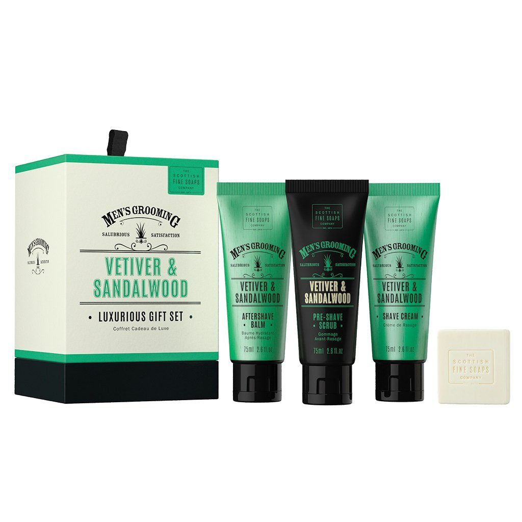 Scottish Fine Soaps Luxurious Gift Set, Vetiver & Sandalwood Shaving Gift Set Scottish Fine Soaps