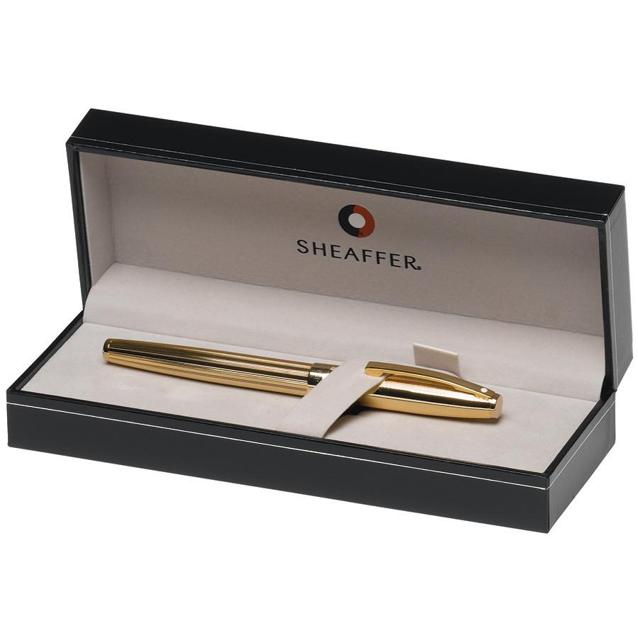 Sheaffer Sagaris Fountain Pen, Fluted Gold Tone Cap and Barrel Featuring Gold Tone Trim, Medium Nib Fountain Pen Sheaffer