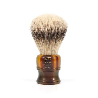 St. James of London Silvertip Badger Shaving Brush, Tortoise Badger Bristles Shaving Brush St. James of London Small