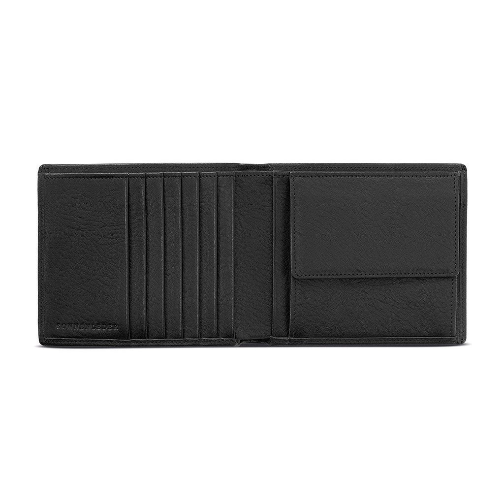 "Sonnenleder ""Trave"" Vegetable Tanned Leather Wallet Leather Wallet Sonnenleder Black"
