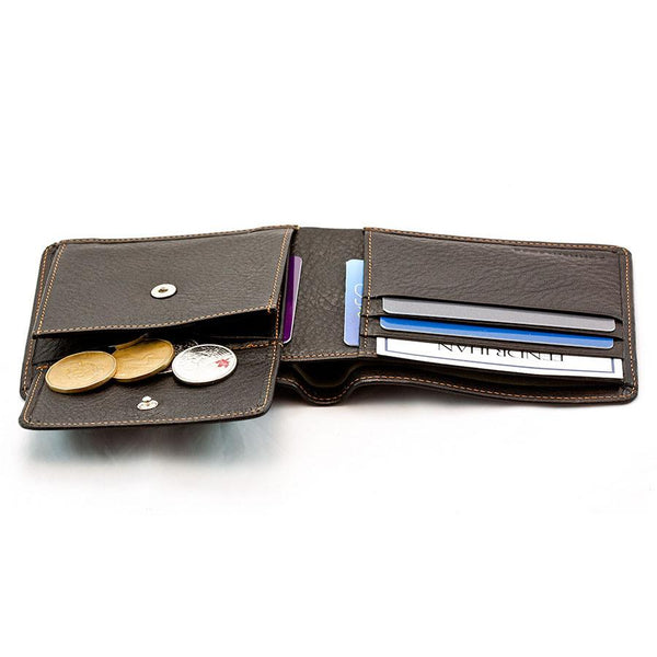 "Sonnenleder ""Spree"" Vegetable Tanned Leather Wallet with 3 CC Slots and Coin Pocket, Mocha Brown - Fendrihan Canada - 3"