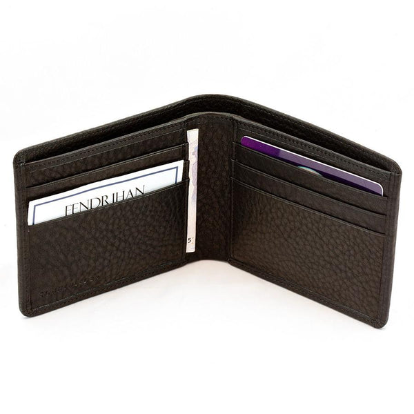 "Sonnenleder ""Ems"" Vegetable Tanned Leather Wallet with 6 CC Slots, Black - Fendrihan Canada - 3"
