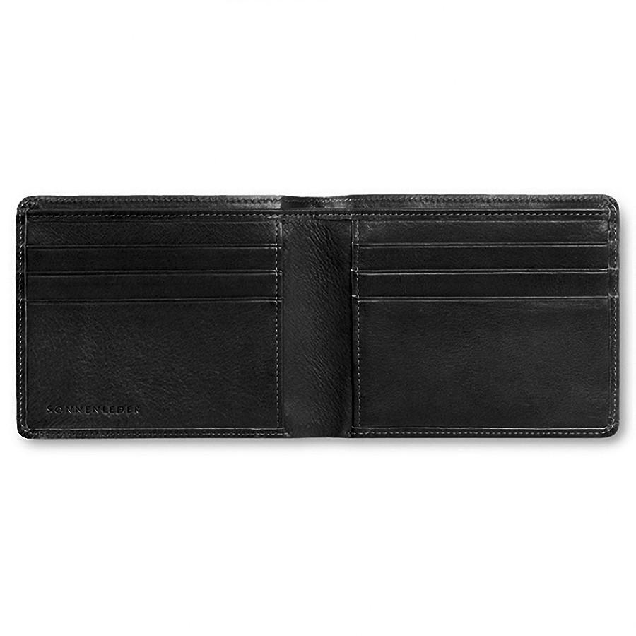 "Sonnenleder ""Ems"" Vegetable Tanned Leather Wallet with 6 CC Slots Leather Wallet Sonnenleder Black"