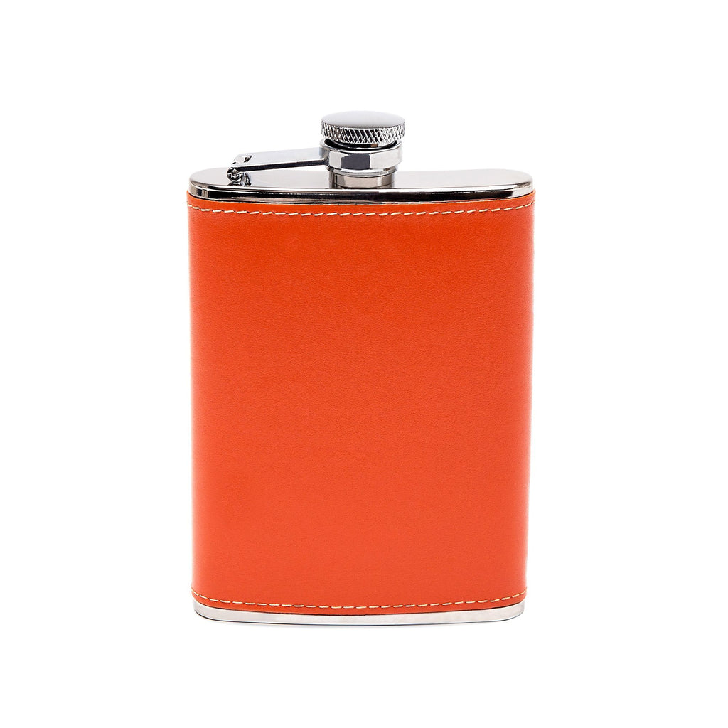 Ettinger Sterling 6oz Captive Top Flask, Orange Flask Ettinger