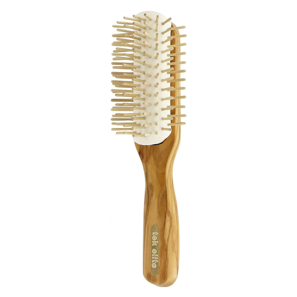 TEK Removable Head Olive Wood Hair Brush with Wooden Bristles, Elite Collection Hair Brush TEK