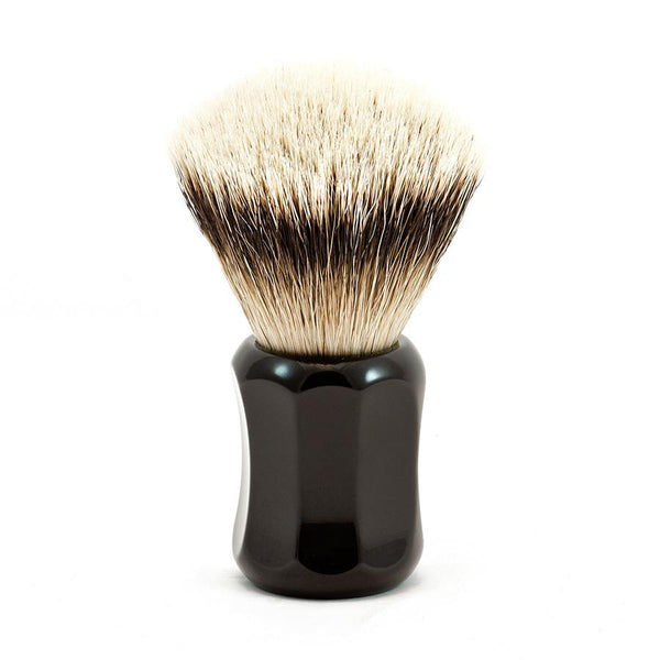 H.L. Thater 4125 Series Fan-Shaped Silvertip Badger Shaving Brush with Black Handle, Size 0 - Fendrihan Canada - 1