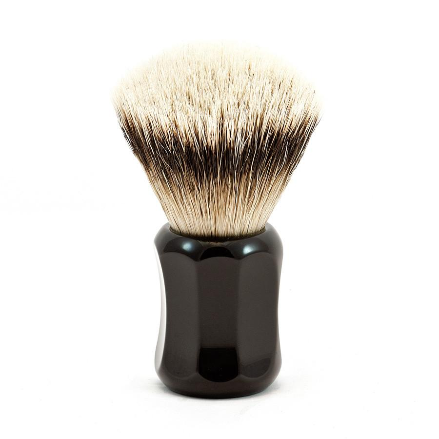 H.L. Thater 4125 Series Fan-Shaped Silvertip Badger Shaving Brush with Black Handle, Size 0 Badger Bristles Shaving Brush Heinrich L. Thater