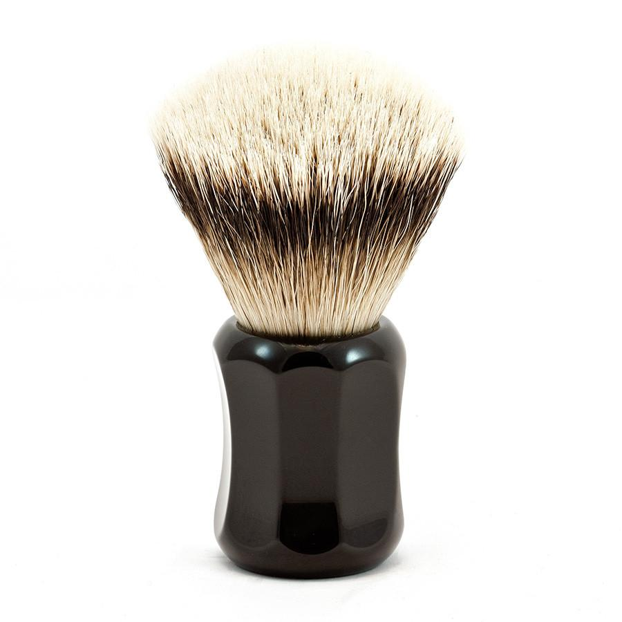 H.L. Thater 4125 Series Fan-Shaped Silvertip Badger Shaving Brush with Black Handle, Size 1 - Fendrihan Canada - 1