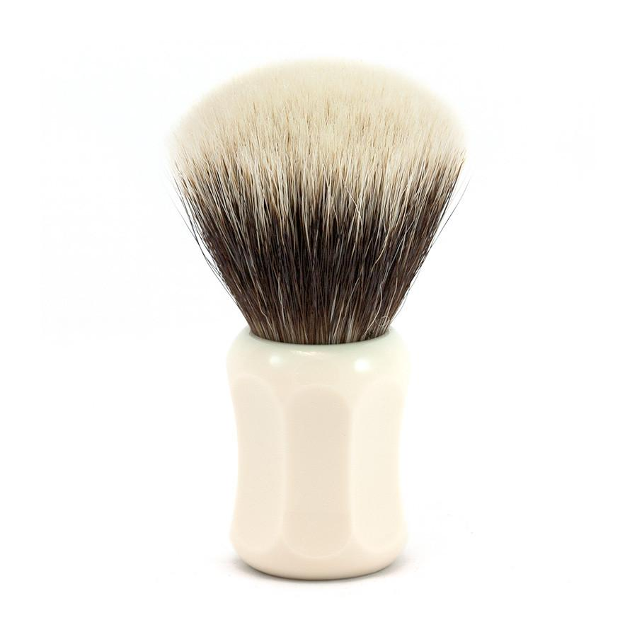 H.L. Thater 4125 Series 2-Band Fan-Shaped Silvertip Shaving Brush with Faux Ivory Handle, Size 2 Badger Bristles Shaving Brush Heinrich L. Thater