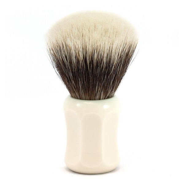 H.L. Thater 4125 Series 2-Band Fan-Shaped Silvertip Shaving Brush with Faux Ivory Handle, Size 4 - Fendrihan Canada - 1