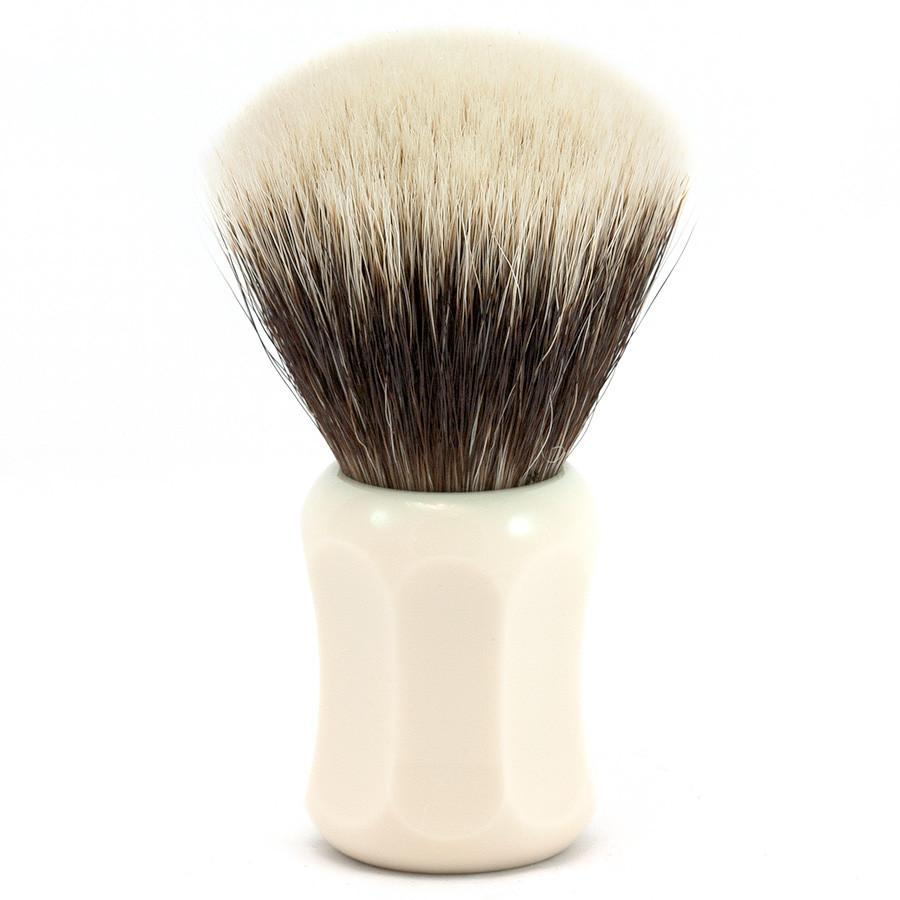 H.L. Thater 4125 Series 2-Band Fan-Shaped Silvertip Shaving Brush with Faux Ivory Handle, Size 5 - Fendrihan Canada - 1