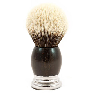 H.L. Thater 4292 Precious Woods Series 2-Band Silvertip Shaving Brush with Ebony Handle, Size 6 Badger Bristles Shaving Brush Heinrich L. Thater