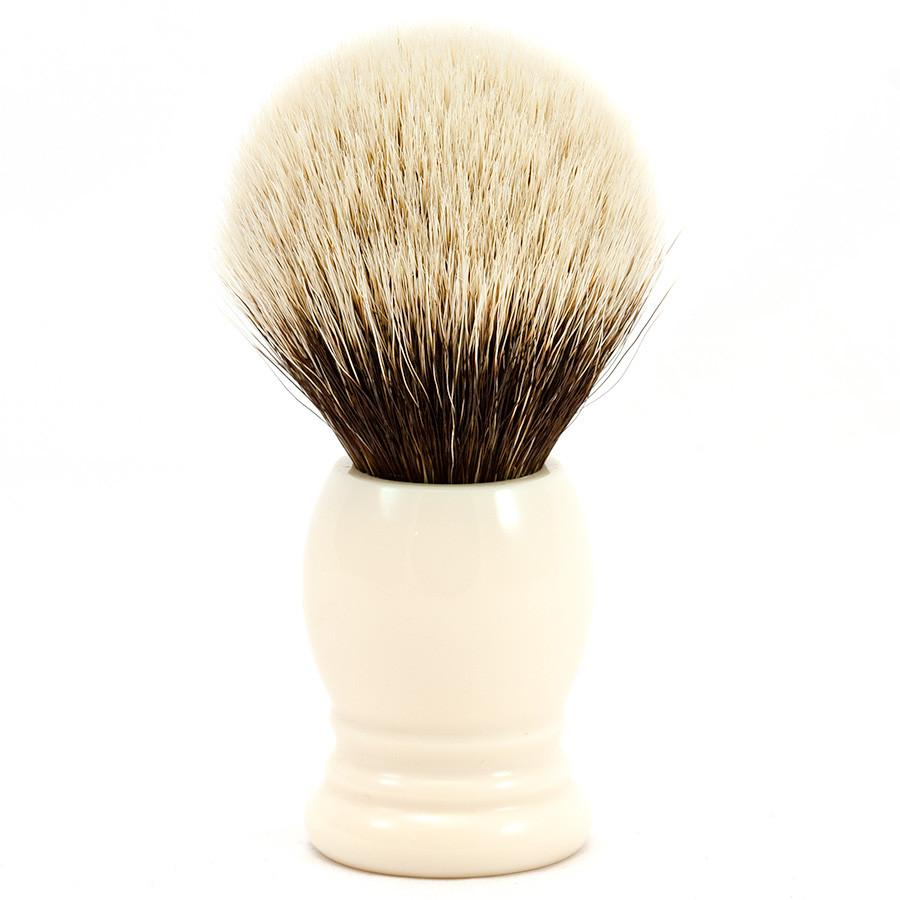 H.L. Thater 4292 Series 2-Band Silvertip Shaving Brush with Faux Ivory Handle, Size 6 Badger Bristles Shaving Brush Heinrich L. Thater