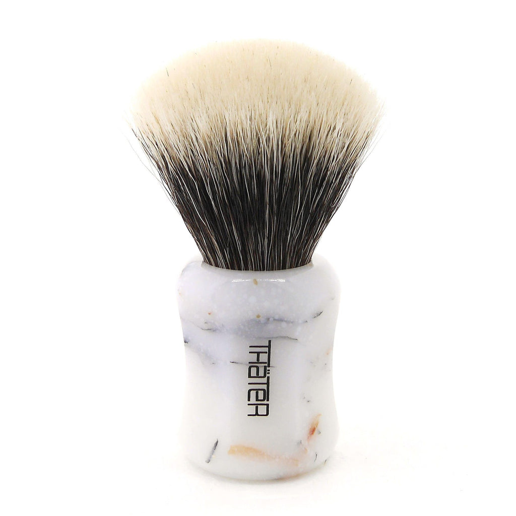 H.L. Thater 4125 Limited Edition 2-Band Fan-Shaped Silvertip Shaving Brush, Size 2 Badger Bristles Shaving Brush Heinrich L. Thater Bianco Lasa