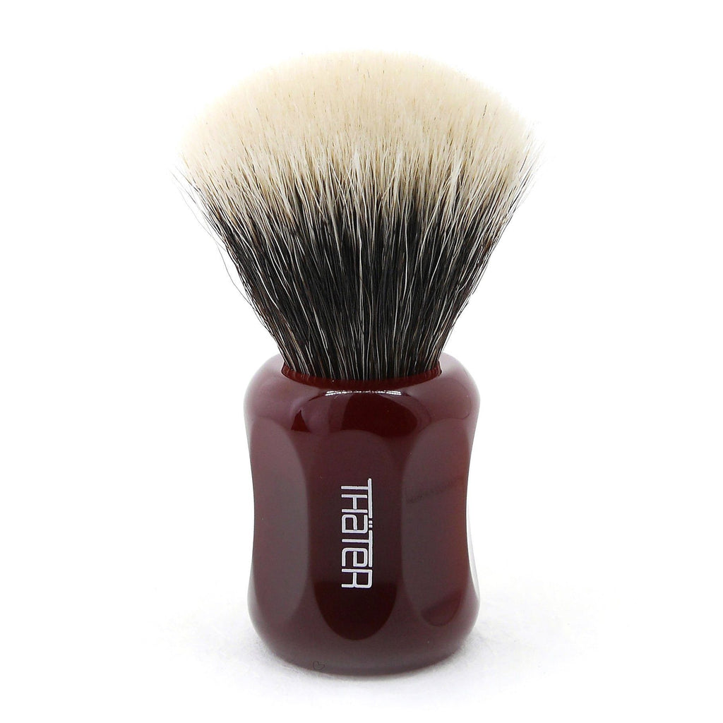 H.L. Thater 4125 Limited Edition 2-Band Fan-Shaped Silvertip Shaving Brush, Size 2 Badger Bristles Shaving Brush Heinrich L. Thater Imperial Red