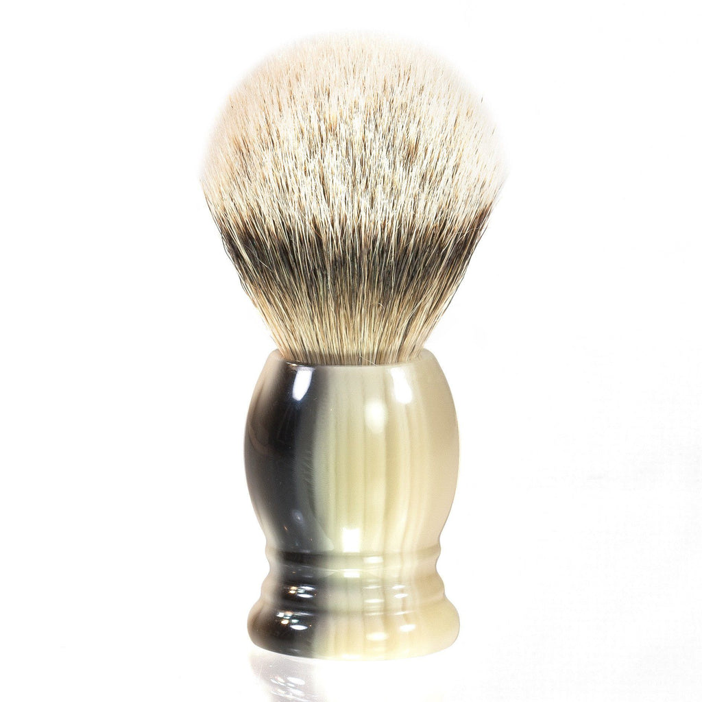 H.L. Thater 4292 Series Silvertip Shaving Brush with Faux Horn Handle, Size 4 Badger Bristles Shaving Brush Heinrich L. Thater